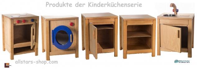 Allstars Kinderküche Spielküche 1 Herd mit Backofen plus Kühlschrank H = 45, 5 cm Buchenholz - Vorschau 4