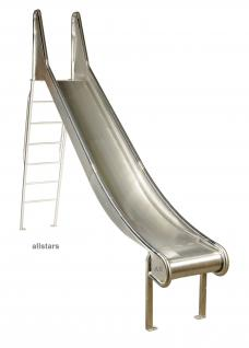 Beckmann Edelstahlrutsche L= 2, 20m Bockrutsche mit Leiter V2A Ohren + Stange H= 1m