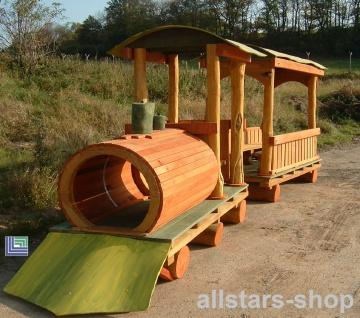 Spielplatzeisenbahn Spielzug - Lok Doc - Holz-Lokomotive ohne Waggon für öffentlichen Spielplatz