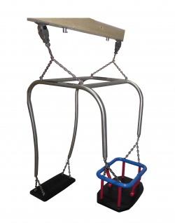 Beckmann Schaukel Eltern-Kind-Schaukel Doppelschaukel 2 Sitze mit Kleinkindschaukel und Kardan-Schaukelgelenke