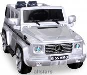 Elektro Kinderauto Mercedes AMG G55008 lizenziert Kinderjeep 70 W Fernbedienung silber-metallic