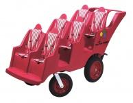 Krippenwagen Sechssitzer 6-sitziger Mehrkindwagen Farbe:rot Mehrlingswagen Kita