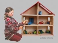 Schöllner Puppenhaus Spielhaus Kinderspielhaus Puppenstube 2 Etagen mit Dach für Kindergarten