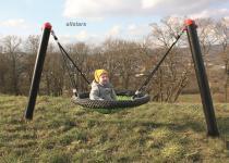 Huck Baby-M-Schaukel Schaukelgestell Vogelnestschaukel Stahlpfosten Babyschaukel