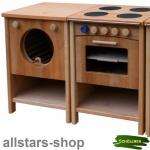 Schöllner Kinderküche Vario Single 2 Geräte mit Herd Backofen Waschmaschine Spielküche Erlenholz Pantry
