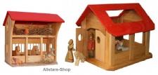 Schöllner kleiner Bauernhof mit zwei Gebäuden, Wohnhaus Pferdestall Kleintierstall Hühnerstall für Geflügel und Esel