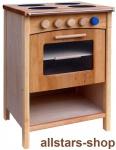 Schöllner Kinderküche Ofen Vario mit 4 Herdplatten für Spielküche Erlenholz Pantry für Kindergarten