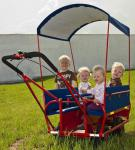 Dragon Toys Krippenwagen Dresden 6-Sitzer mit Klapptisch rot Mehrkindwagen