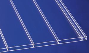 Acryl Stegplatten 16 mm panoama klar 96 mm Hohlkammerbreite, Breiten 98 oder 120 cm, Längen bis 7 m