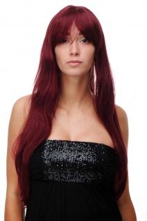 Perücke Damenperücke Rot Granatrot sehr lang Pony gescheitelt glatt 70cm 3111-39
