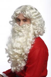 Perücke Bart Set Deluxe Weihnachtsmann Santa Claus Nikolaus Gott Hellblond