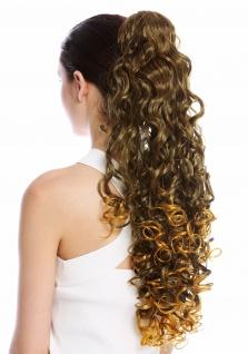 Haarteil Zopf Pferdeschwanz sehr lang voluminös lockig gelockt Schwarz Blond