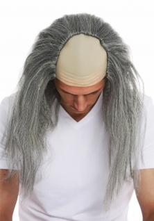 Perücke Karneval Halloween Herren Stirnglatze Halbglatze lang graue Haare Igor - Vorschau 4