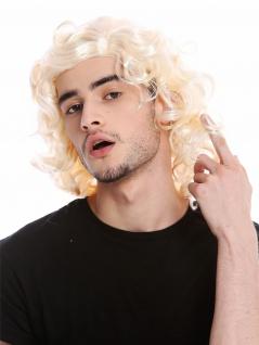 Perücke Herren Unisex Blond gelockt Scheitel Schlagersänger Gigolo 70er 80er