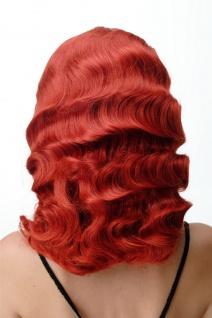 Damen Perücke Wasserwelle Classic Hollywood Diva gewellt lang Volumen feurig Rot - Vorschau 4