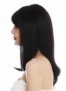 Perücke Damenperücke handgeknüpft lang schwarzbraun glatt voluminös - Vorschau 3