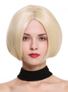 Perücke Damenperücke Monofilament kurz Bob glatt Lace-Front Hellblond Blond