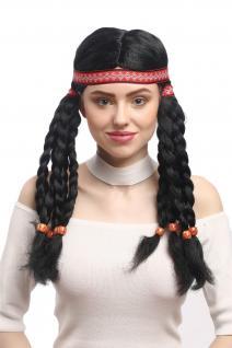Perücke Damen Karneval Fasching Indianer Indianerin Squaw Hippie Zöpfe Stirnband