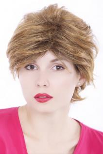 Damen Frauen Perücke kurz Braun Blond gesträhnt struppig gescheitelt GFW86