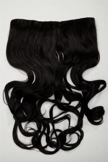 Clip-In Extension Haarverlängerung breit hitzefest 5 Clip lockig dunkelbraun