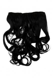 Clip-In Extension Haarverlängerung breit 5 Clip lockig schwarz pechschwarz