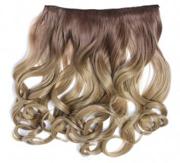 Clip-in Extension Haarverlängerung breit gelockt Locken Ombre Aschblond 40cm