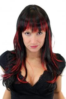 Perücke Damen Frauen Schwarz Rot gesträhnt Glatt Strähnen lang 60cm GFW824-131Y