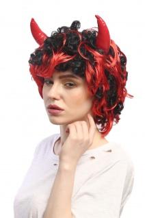 Perücke Karneval Fasching Halloween Teufel Teufelin Dämon She-Devil Hörner 4045