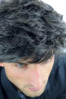 Perücke Herrenperücke Männer wellig sehr dicht dunkelbraun grau meliert CM-195 - Vorschau 4