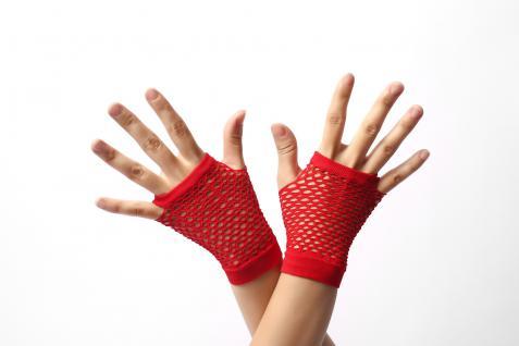 Handschuhe Netzhandschuhe Rot fingerlos Netz kurz 80er Punk Rocker Gothic Emo - Vorschau 1