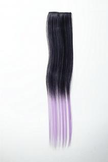 Breite Extension 2 Clips Strähne Haarverlängerung glatt Ombre 45cm Schwarz Lila