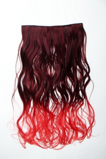 Extension Haarverlängerung Clip-In 5 Clip lockig zweifarbig Ombre Rot 50cm lang