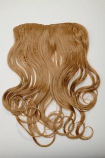 Clip-In Extension Haarverlängerung breit hitzefest 5 Clip lockig dunkles Blond