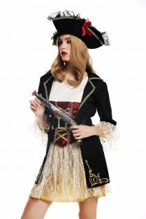 Kostüm Kleid Hut Damen Frauen Karneval edel Barock Piratin Seeräuberin S W-0266