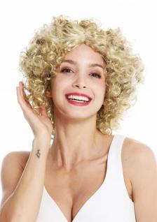 Perücke Damen Karneval Funky 60er 70er Funk Afro Locken Mittelscheitel Blond
