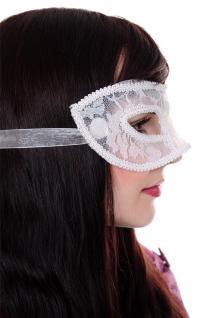 Venezianische Maske Damenmaske Halbmaske Weiß Spitze Maskenball Gothic LS-002 - Vorschau 3