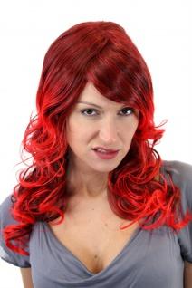 Damenperücke Perücke Rot Braun gesträhnt gelockt Diva lang Locken 55cm GFW1043