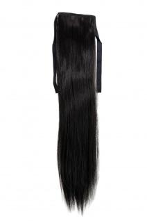 Haarteil ZOPF Schwarz glatt 45cm YZF-TS18-2 Band Haar Klammer Haarverlängerung