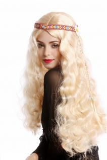 Perücke Blumenkind Hippie 60er 70er lang blond wellig Mittelscheitel Stirnband - Vorschau 3