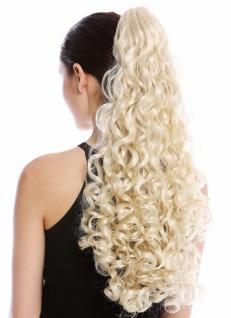 Haarteil Zopf Pferdeschwanz lang voluminös stark gelockt lockig Lichtblond Blond
