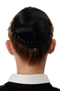 WIG ME UP Dutt Haarteil aufwendig geflochten Haarknoten Tracht Schwarz N796-1B