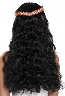Perücke Blumenkind Hippie 60s 70s lang schwarz wellig Mittelscheitel Stirnband - Vorschau 4