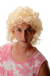 Perücke Damen Herren Karneval Locken Hellblond Blond schulterlang Proll Adonis