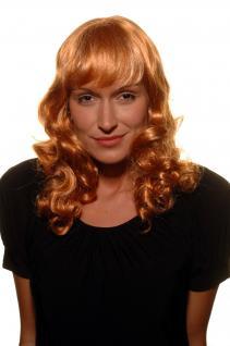 Damen, Perücke, Wig, KUPFERROT, BLOND, mittelang, gelockt, Haarersatz, 45cm, SA-154-145T25