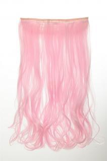Haarteil Extension breite Haarverlängerung 5 Clips lockig Hellrosa YZF-3178