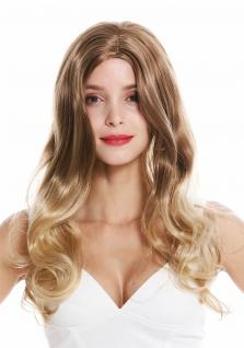 Damenperücke Perücke Damen lang gewellt wellig Mittelscheitel Braun Blond Mix
