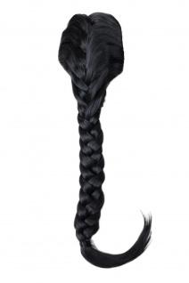 Haarteil geflochtener Zopf Pferdeschwanz lang traditionell Klammer Kämme Schwarz