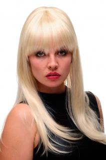 Damen Perücke 60er Sixties Toupiert Beehive Platinblond blond lang glatt GFW2212