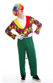 Kostüm Herren Männer Alleinunterhalter Karneval Clown Harlekin Narr S/M M-0088