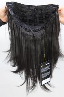 Clip-in Haarteil, 7 Klammern, 3/4 Perücke, schwarz, Länge ca. 45 cm, H9515-2